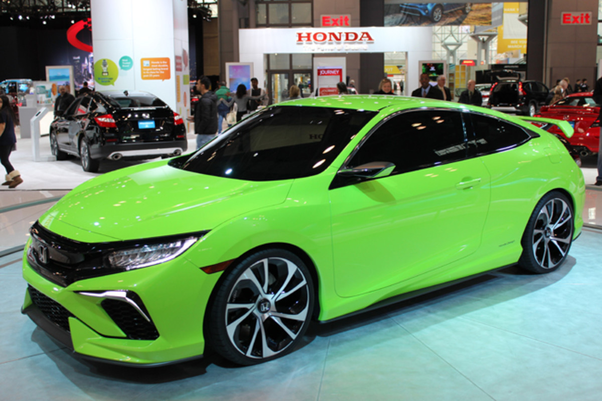 The 10th Generation, 2016 edition Honda Civic - previewed at the 2015 New York show by this muscular, metallic green Coupe Concept - was engineered in Ohio and styled in California, marking the first time the Japanese carmaker's North American operation has taken charge of this crucial model's global development.
