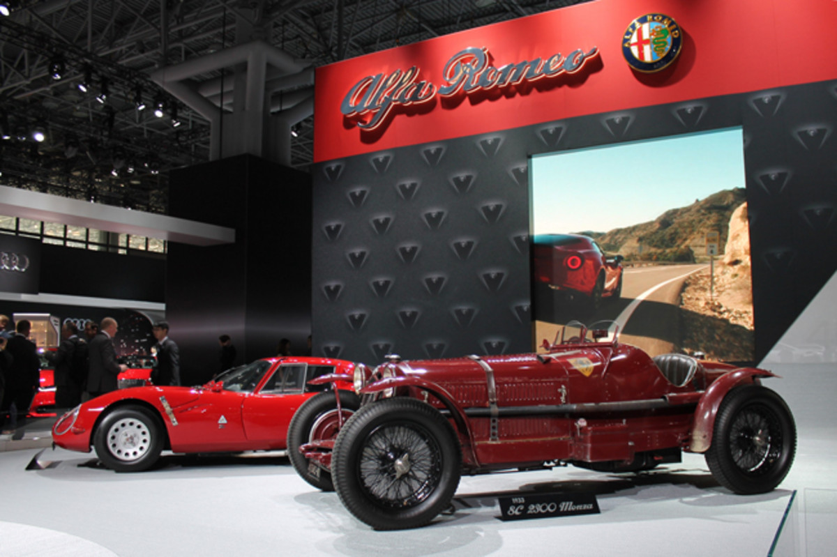 The finest heritage display at the 2015 New York International Auto Show was indisputably Alfa Romeo's, which placed a 1933 8C 2300 Monza beside a 1965 TZ2 competition coupe. The opposite end of the stage touted a 1968 33 Stradale and a display case enshrining a steering wheel and jacket used by the racing immortal Tazio Nuvolari
