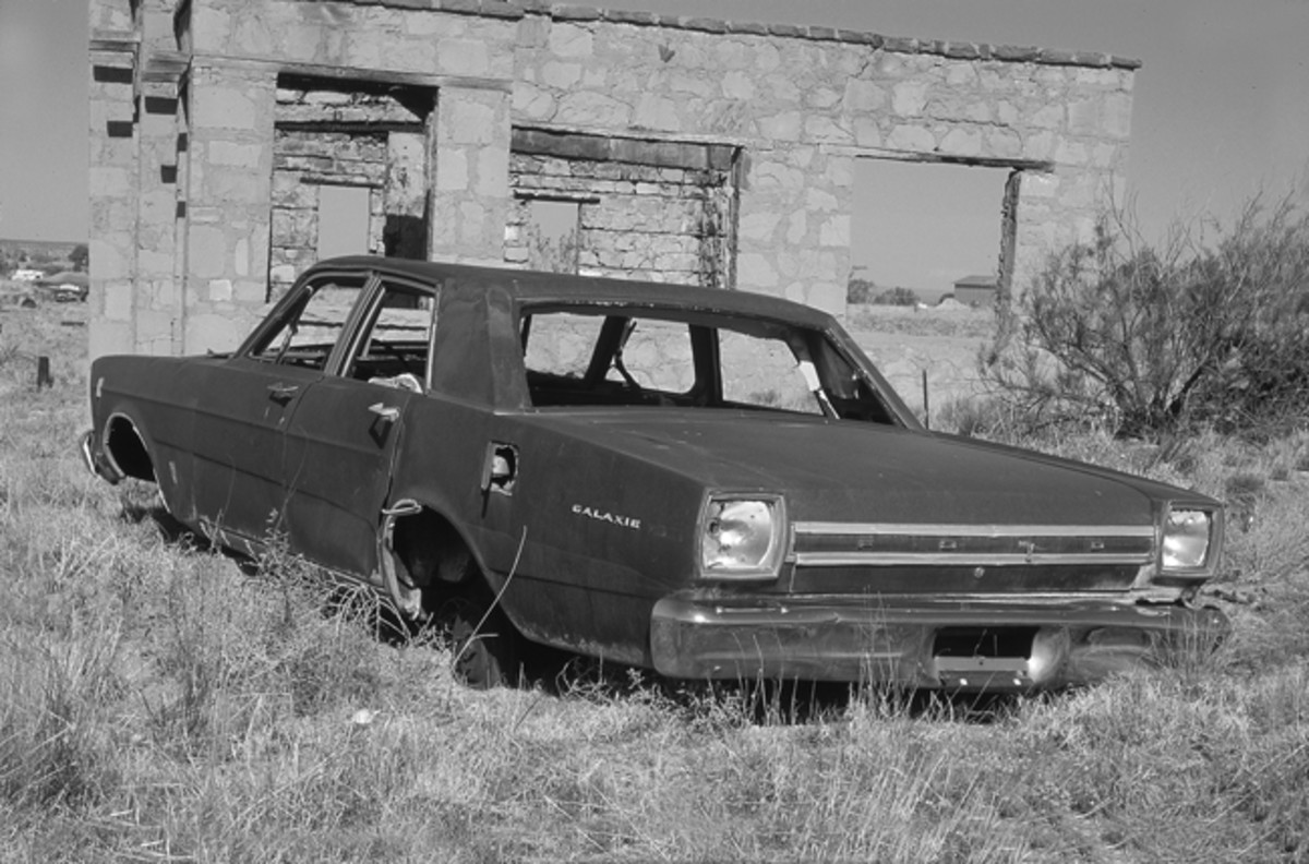 The abandoned vehicles in New Mexico make for great photo opportunities, especially when coupled with abandoned dwellings as this pair show. (Above) A 1966 Pontiac Bonneville hardtop with fender skirts can be found in Ocato along Highway 120 while (below) a 1966 Ford Galaxie 500 sedan has been picked clean in Conchas Dam along Highway 104.