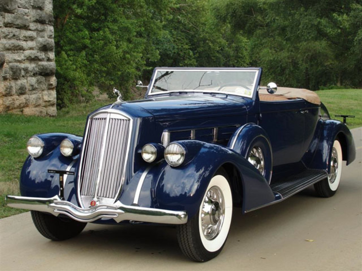 Two of the featured cars that will cross the block at the fall Branson Auction are (above) a V-12-powered 1936 Pierce-Arrow 1602 Salon convertible coupe roadster and (below) a Hemi '69 Dodge Daytona that is documented to be the highest-optioned Daytona in existence. The auction will be held in the Branson (Mo.) Convention Center. (Branson Auctions photos)