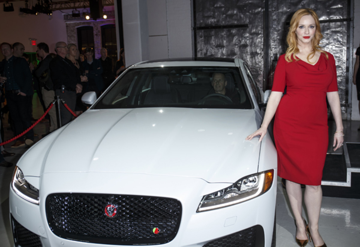 Jaguar, prior to its official press conference at the 2015 New York auto show, previewed its second-generation XF sports sedan at a Chelsea shindig where MAD MEN star Christina Hendricks was a special guest - her character, after all, landed the Jaguar ad account for Sterling Cooper!