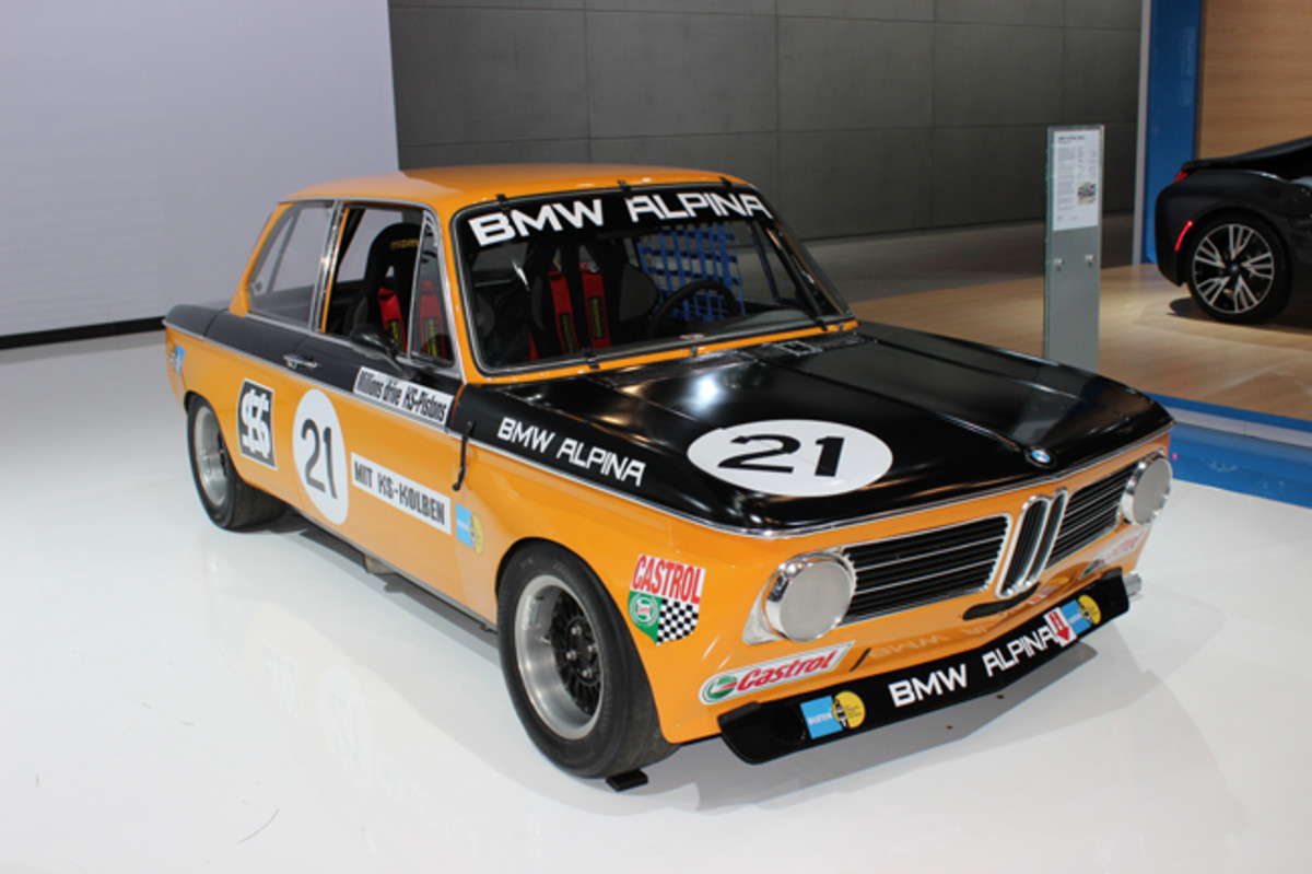 BMW's history displays at the 2015 New York auto show included this 1970 Alpina 2002ti fortified for racing with side-draft Weber carburetors, flared fenders and three-piece alloy wheels. After it was originally campaigned by Competition of Torrance in 1971-2 West Coast SCCA events, BMW repurchased it after 24 years of post-retirement storage and restored it with Alpina's help in 2014.