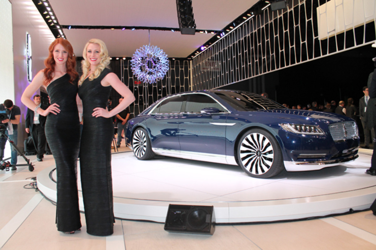 Floor-length evening gowns are a much-rarer sight at the New York show than they were 40 or 50 years ago, but Gail & Rice agency models Caitlin (left) and Mandi (right) rocked 'em old school as the stately Lincoln Continental Concept had its world debut at the 2015 edition. The production version launching next year will have a big role to play in Lincoln's plan to triple global sales to 300,000 units by 2020, especially as wealthy Chinese buyers adore chauffeur-driven cars with long wheelbases and lavish interiors