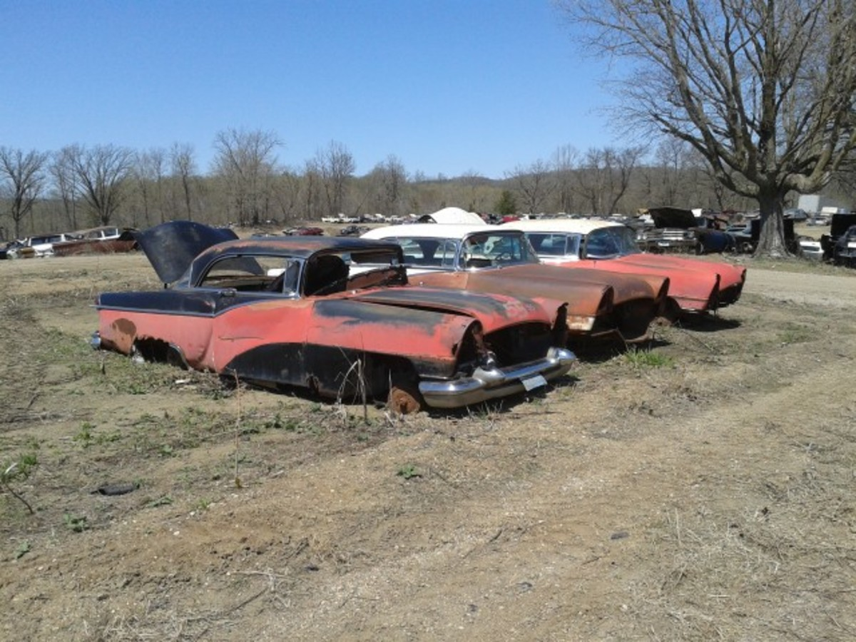 Another trio of unusual 1950s iron, this time in the form of 1955 Packard Clipper two-door hardtops. This batch is prepped for parts hunters in the main part of FLAP, but there are more solid and complete examples parked with project Packards from the yard's recent acquisition of project cars.