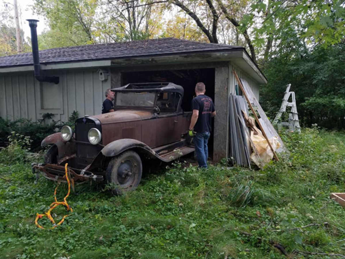 It's believed this 1930 Chevrolet was hidden behind a wall for 30-40 years before it was removed in late 2018 (left). The truck spent its first 90 years in Oconomowoc, Wis. 1930 was the first year for this roadster pickup model with a convnetional truck box; earlier Chevy roadster pickups were based on roadster cars with a slide-in box.