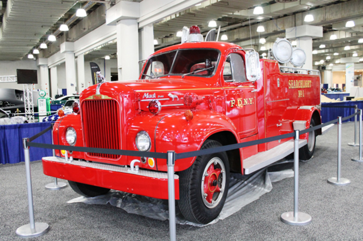 The FDNY's 150th Anniversary exhibit at the 2015 New York auto show featured this one-off, H&H-bodied 1959 Mack B-20 searchlight truck powering eight portable lights through a 10-kilowatt generator and 2,000 feet of cable.