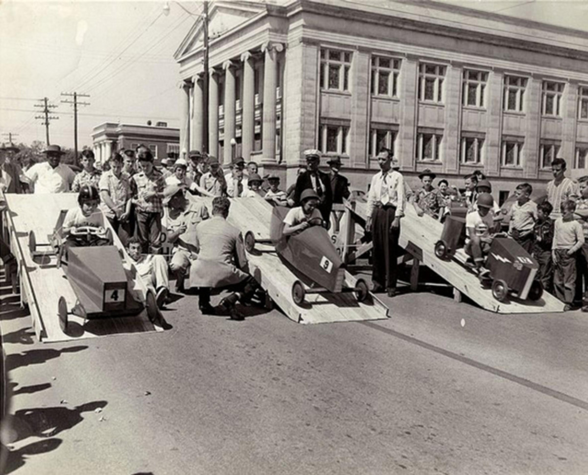 The Soap Box Derby racers started on a ramp and helmets were mandatory safety equipment.