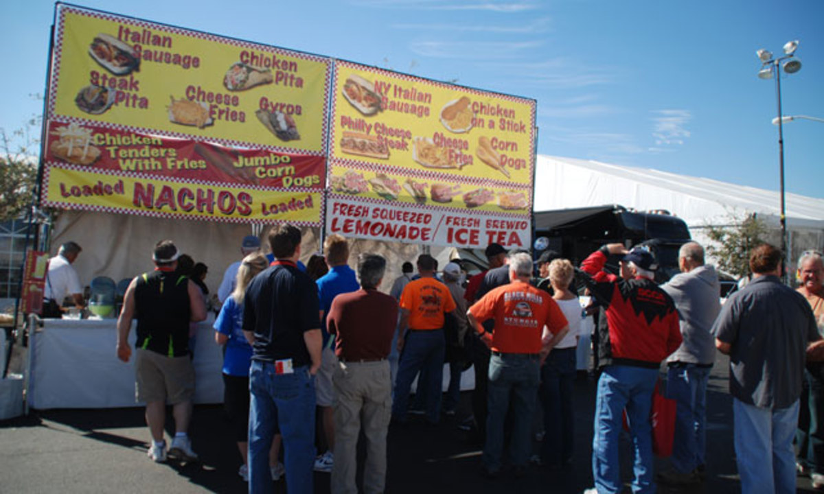 At an auctio,n part of the fun is exploring new culinary delights, which plenty of people are doing at Mecum's Kissimmee sale.