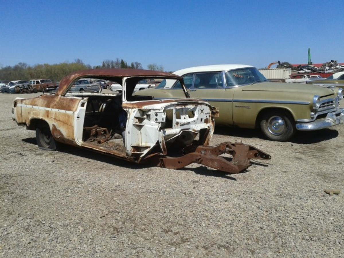 This one almost came home with me as yard art. It's a 1955 Chrysler C-300, or what's left of one. There's just a body shell, frame and rear axle...and a VIN, denoting it as 300 Number 1875. Resto-mod, anyone?