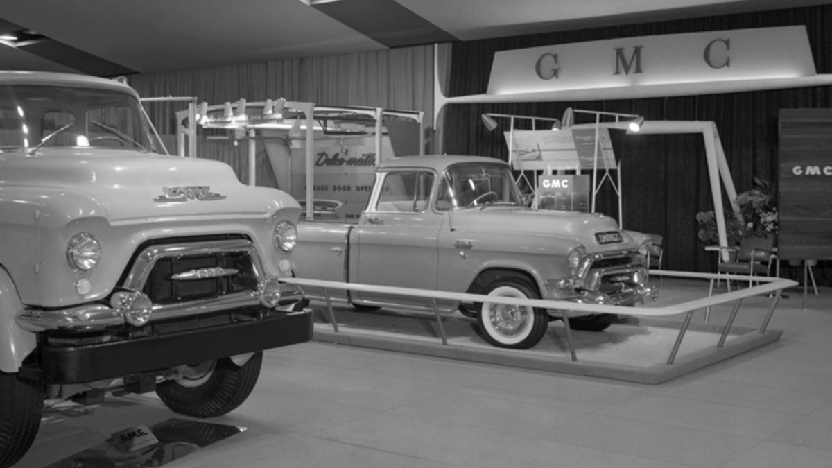 This truck is believed to be the 1956 GMC Bluegrass Runabout. It was based on GMC's production Suburban pickup, the counterpart to the Chevrolet Cameo Carrier pickup truck. The Bluegrass Runabout appeared at 1956 GM Motorama stops, and this image shows GMC's display at the 1956 Boston Motorama. (GM Media Archive collection)