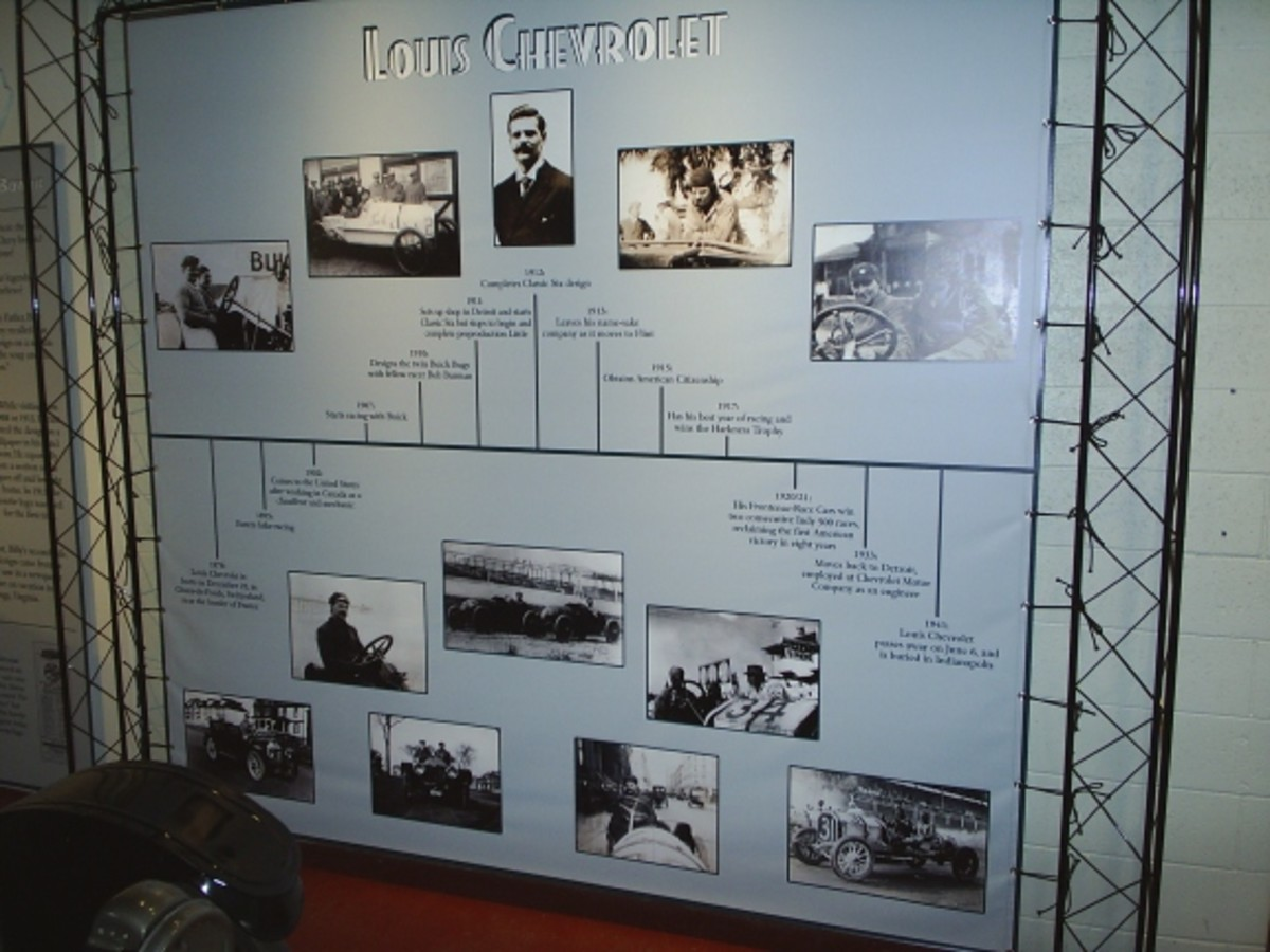 This banner shows the timeline of Louis Chevrolet's life and will be offered for sale when the display comes down, as will other parts of display.