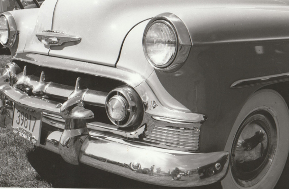 Here's a close-up of the '53 Chevy bumper, grille, grille guard and hood badge.