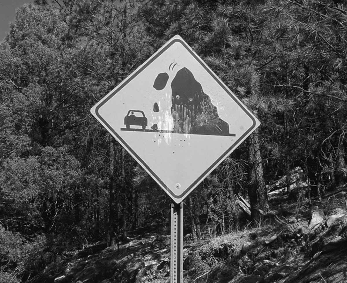 This graphic motorist warning is my favorite road sign from the trip. Many roads that were cut into hills in New Mexico incur rock slides that no amount of paintless dent removal can mend.