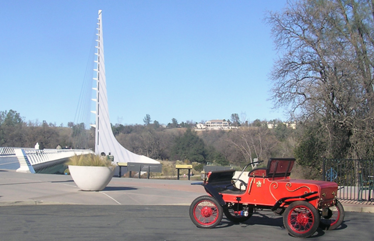 Parked at the Sun Dial Bridge, his California point of departure.