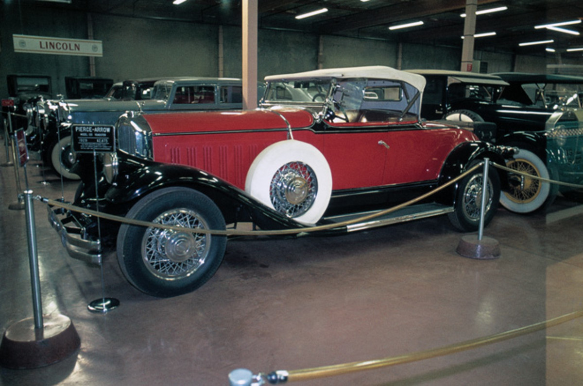 Harrah had many Pierces, including this 1929 Pierce-Arrow roadster photographed in 1975.