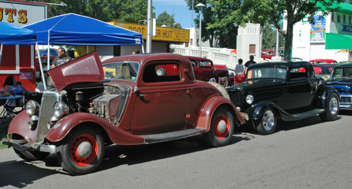 "Before and After: Both are sweet rides, but there's something especially eye-catching about the ""before"" 1934 Ford three-window coupe's patina."