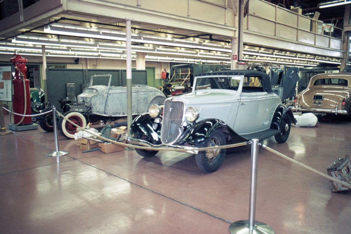 A pair of 1933 Ford Cabriolets in Harrah's restoration shop in 1975.