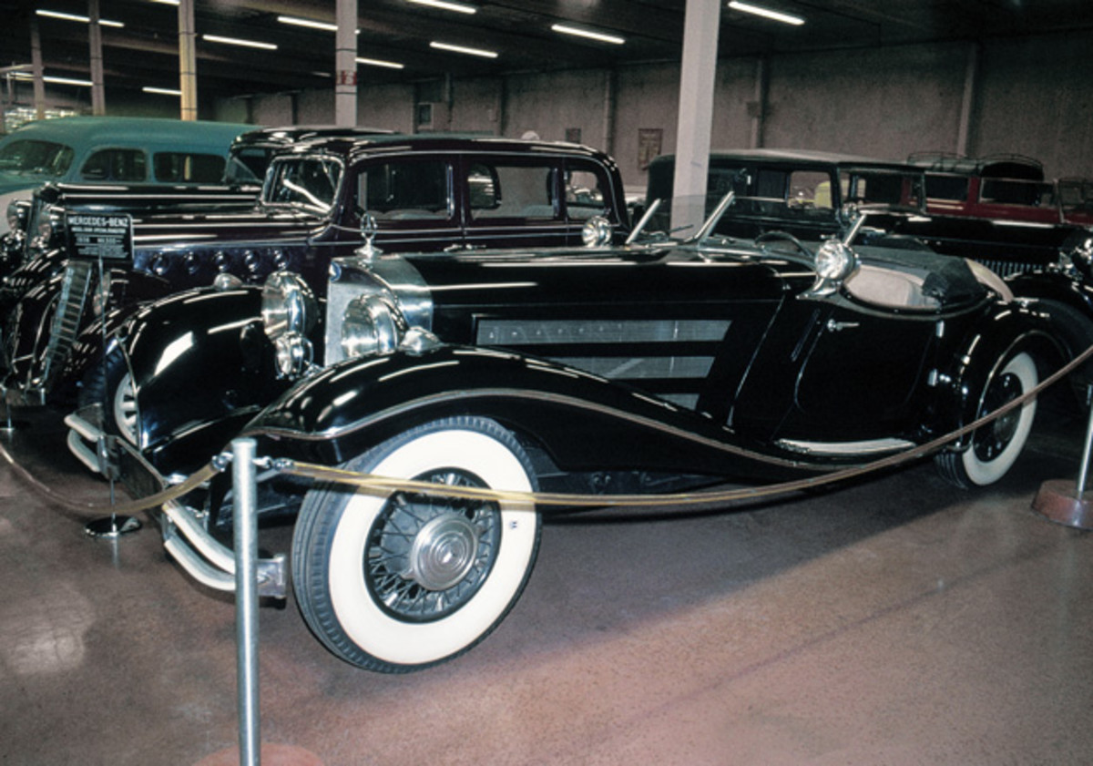 A 1936 Mercedes-Benz 500K special roadster photographed in 1975.