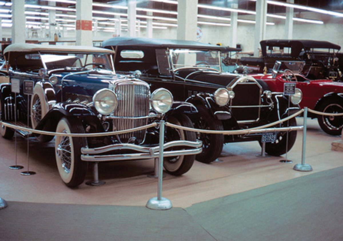 Duesenberg and Pierce-Arrow phaetons, as photographed in 1964.