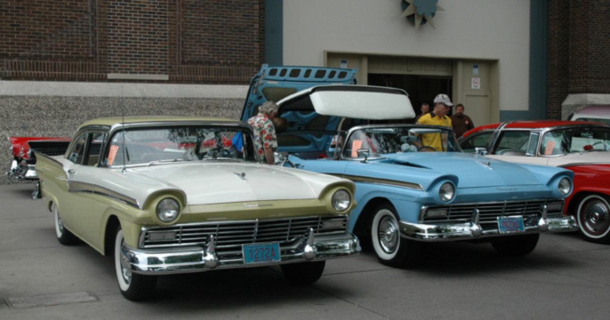 A trio of 1957 Ford Fairlane 500s were grouped together near the grandstand. Included are a Skyliner (right), Town Victoria (rear) and Club Sedan (left).