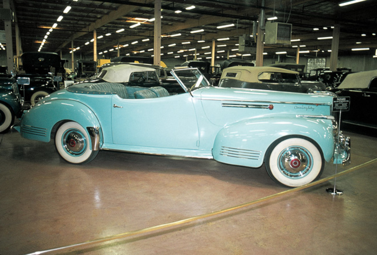 A baby blue 1942 Packard Darrin photographed in 1975.