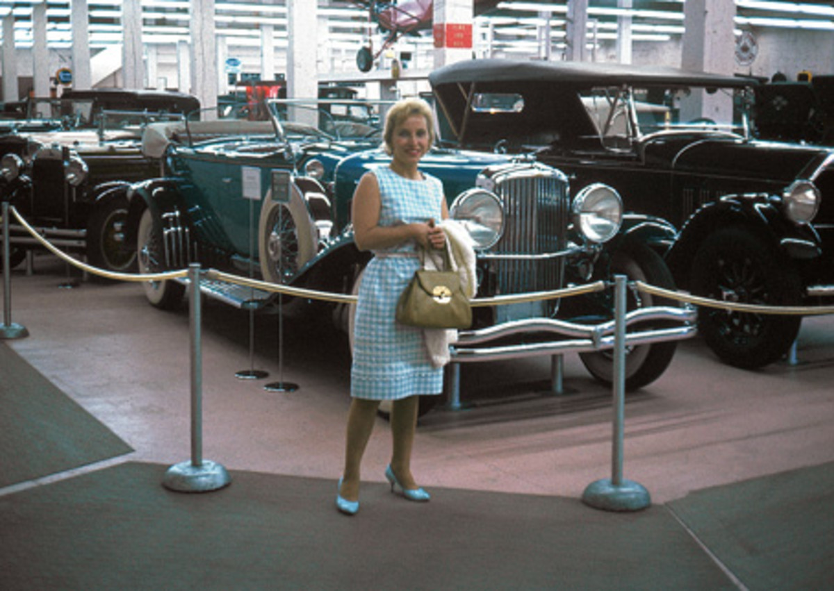 An unknown woman and the Duesenberg Model J phaeton as photographed in 1965.