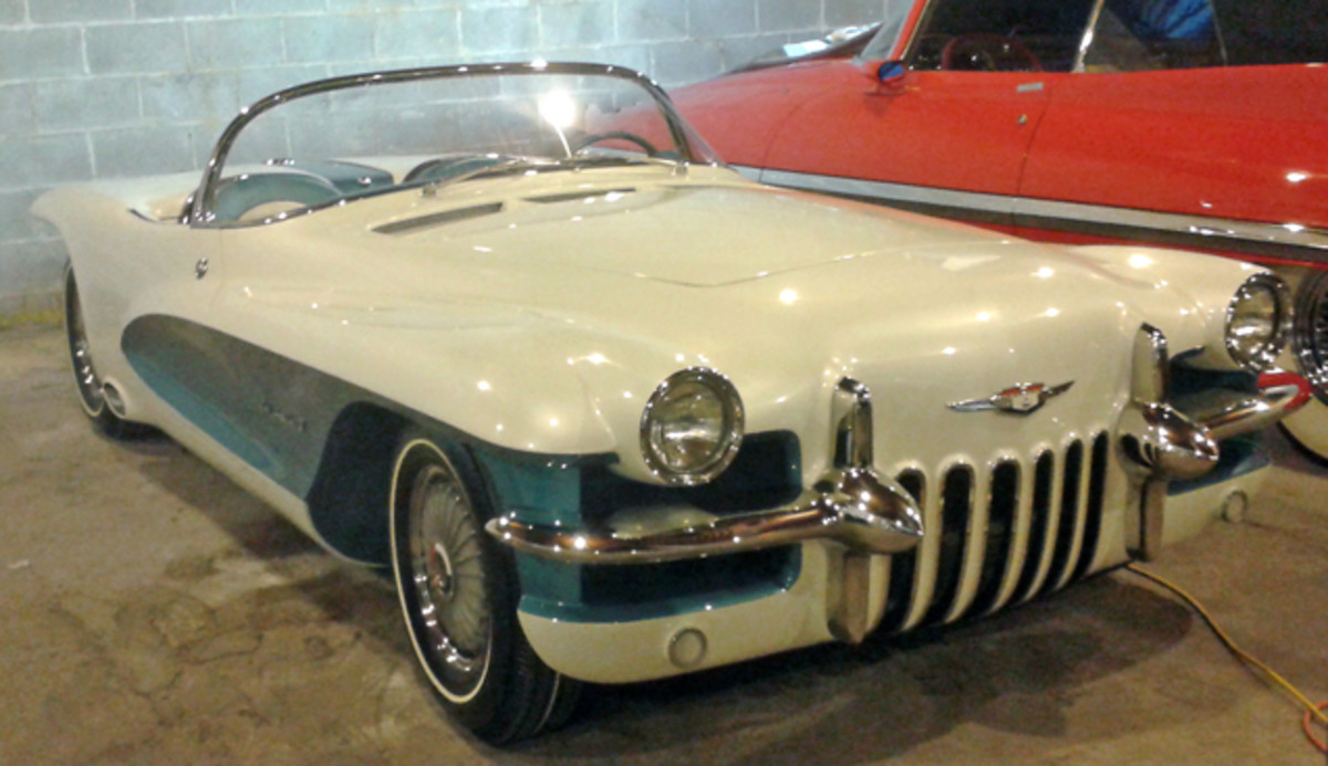 The visitors snuck a peek at the recently restored 1955 LaSalle II roadster, which will debut March 10 at the Amelia Island Concours d'Elegance in Amelia Island, Fla.