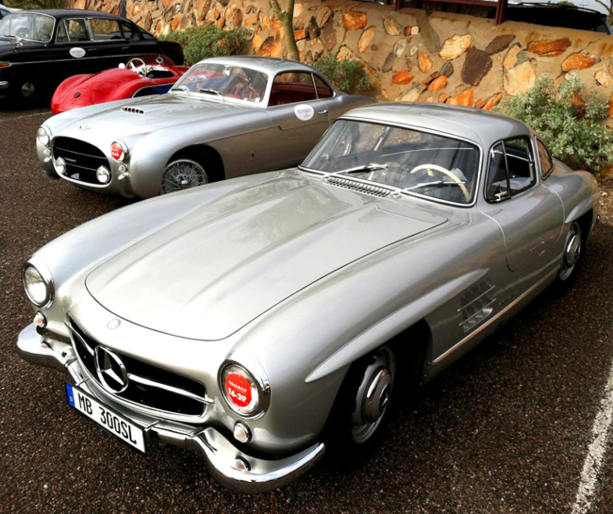 1954 Mercedes-Benz 300SL Gullwing (front) and 1954 Fiat 8V coupe