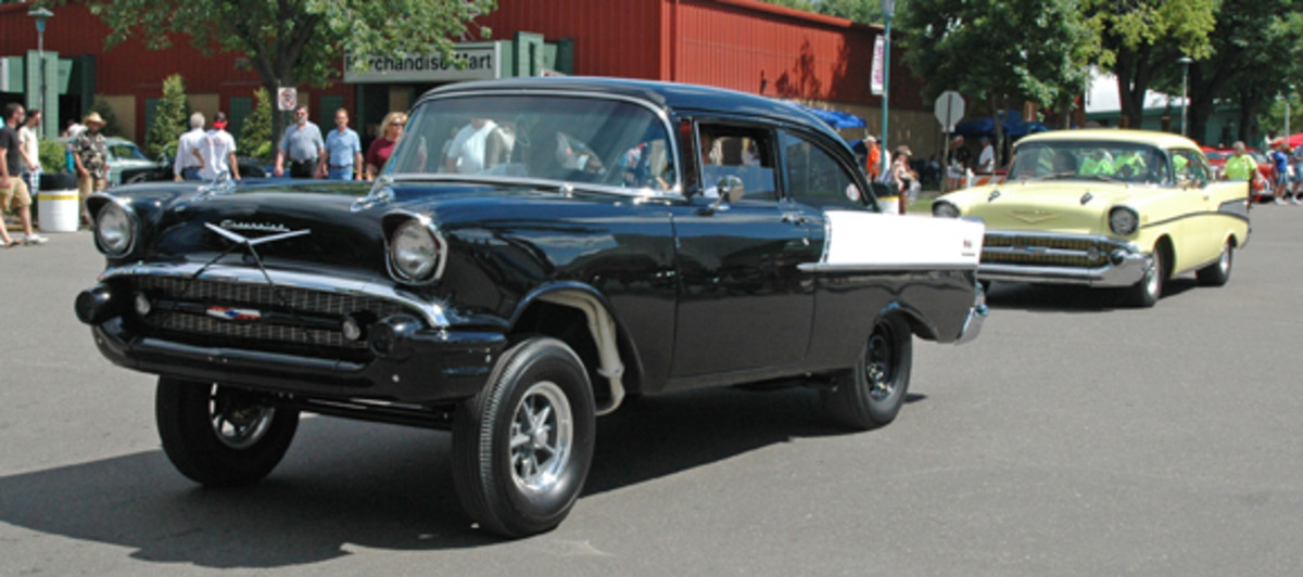 "Mild or wild, take your pick of 1957 Chevrolets. The gasser One-Fifty ""Black Widow"" clone packed a loud bark and a mouse motor while the Bel Air Sport Coupe was more street-worthy."