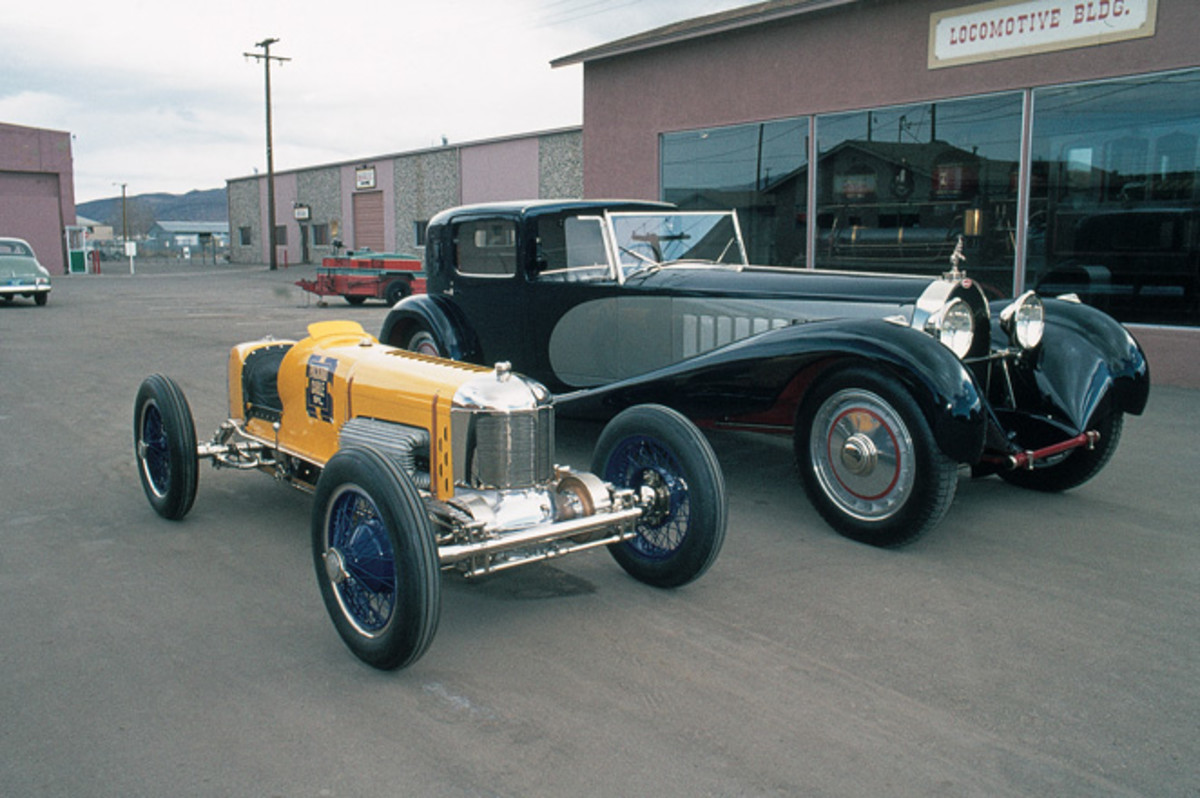 1927 Miller 91 and 1931 Bugatti Royale Coupe deVille photographed in 1975.