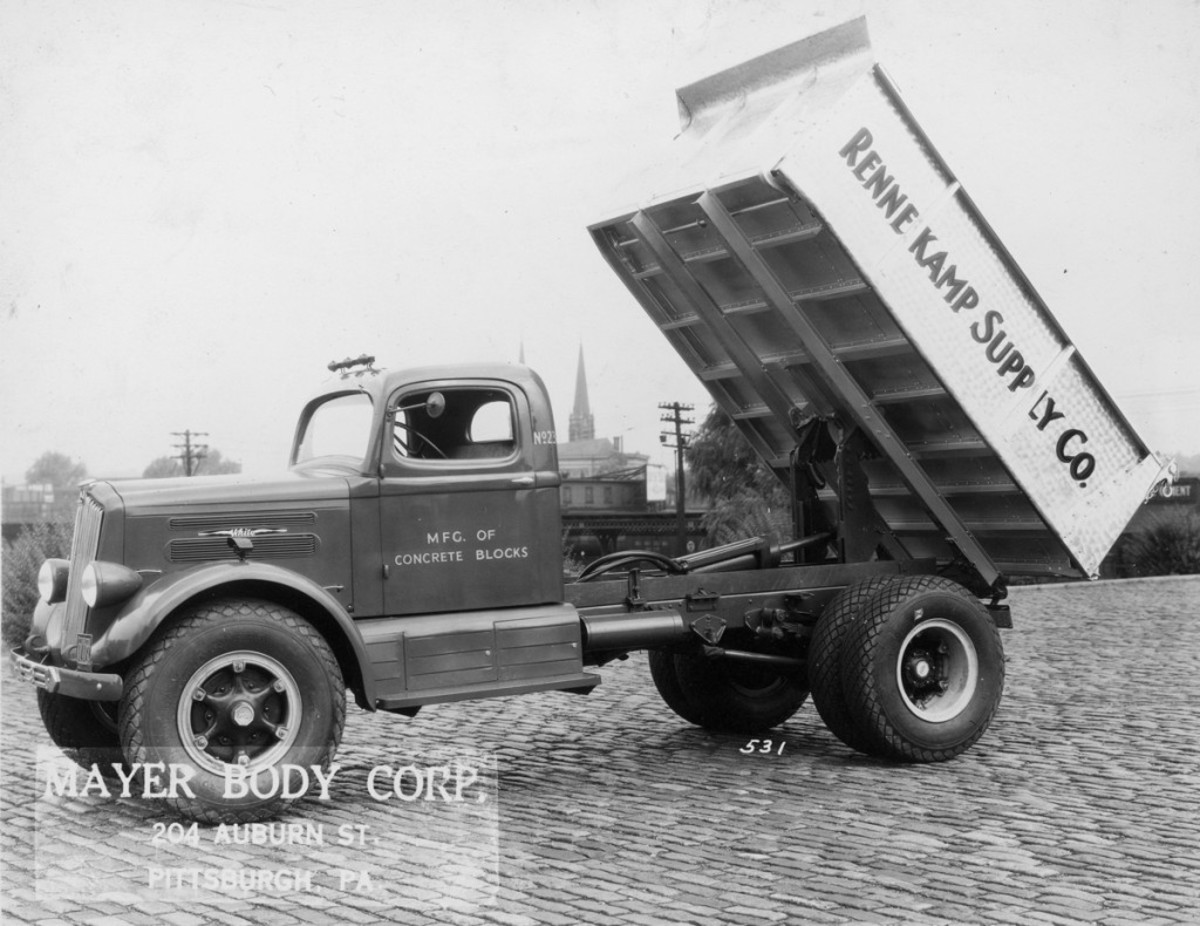 """Mayer Body Corp. supplied little information about this 1936-'38 White, built for Rennekamp Supply Co., a manufacturer of concrete blocks. These impressive trucks were """"modernized"""" with """"smart streamline styling"""" by Count Alexis de Sakhnoffsky and a """"aero-type instrument panel"""" that added """"to the de luxe appearance of the cab."""" During this period, from 1936-'38, Packards, Pierce-Arrows and Cadillacs weren't the only vehicles to be fitted with V-12 engines, as White trucks had 505-cid V-12 engines of 143 hp in some models."""