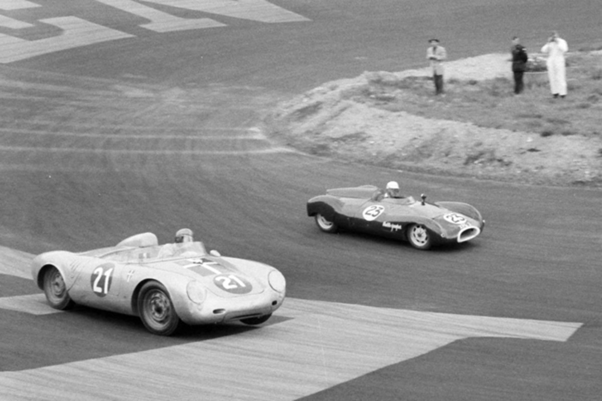 1957-08.09 Julius Voigt-Neilsen in 550A-0121 chases Ian Raby in his Cooper Climax at Roskilde, Denmark in September of 1957(Courtesy of Carsten Frimodt)