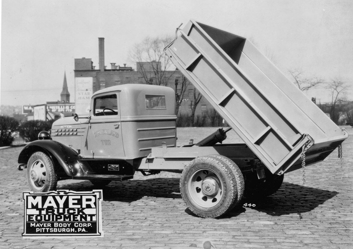 Before it could cross a puddle or a rock could chip its dump body, this circa-1936 Mack Jr. Model 20-MA was photographed with a freshly installed dump body. The Model SL-11 steel dump body was presumably made by Heil, also the supplier of the rig's SL-1 hydraulic hoist, but painted and mounted by Mayer Truck Equipment. This truck rode a 139-inch wheelbase and would have had a 209-cid six-cylinder good for 72 hp. According to the doors, this Mack Jr. serviced the taxpayers of Cumberland Township.