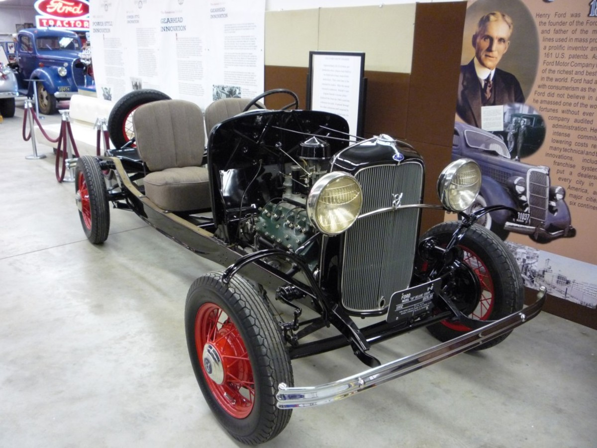 The 1932 Ford chassis in its new and permanent home within the Early Ford V-8 Foundation Museum.