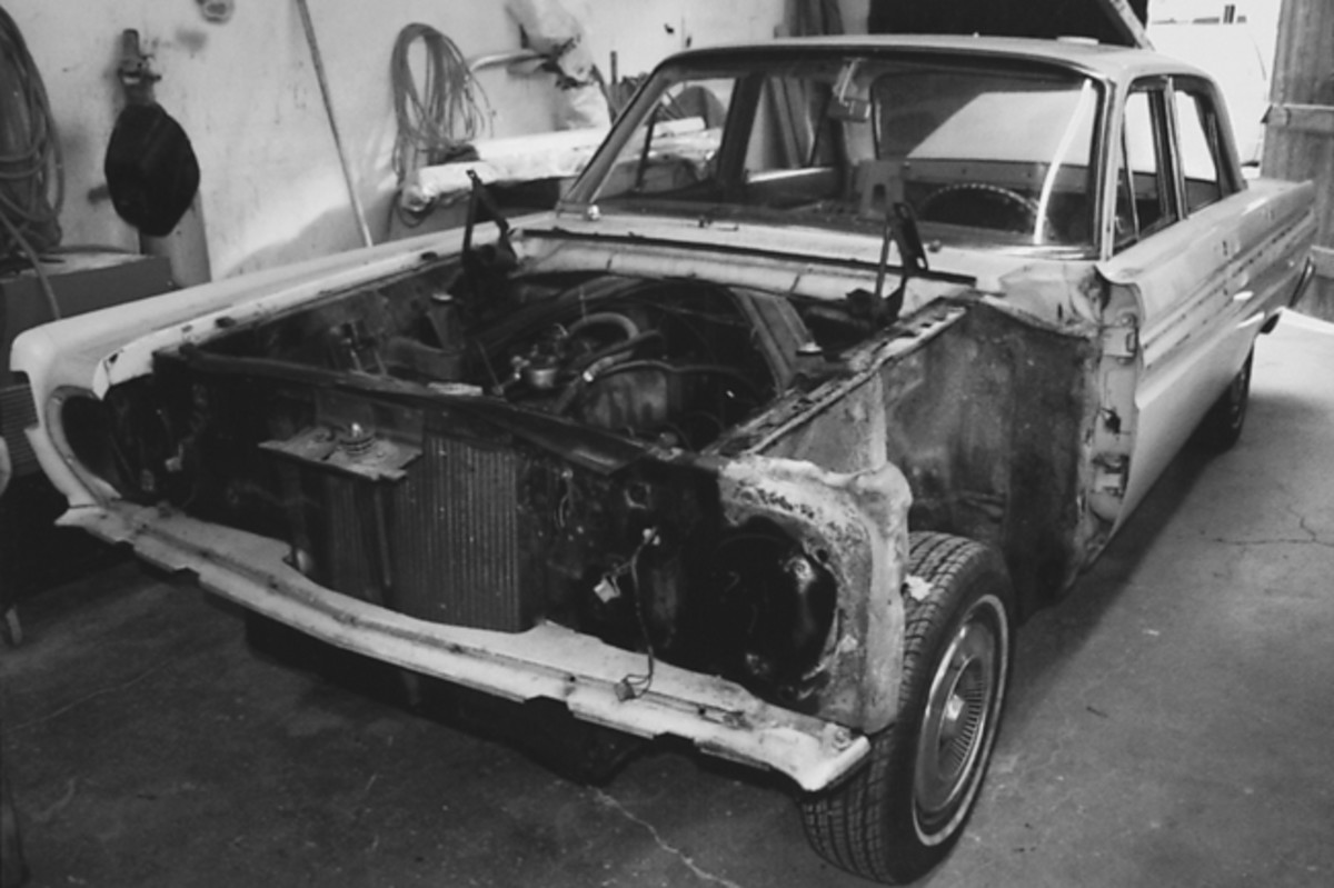 The Comet Caliente sedan undergoing the surprise restoration our son hoped to complete someday. The car was presented to him in early April as a 40th birthday surprise.