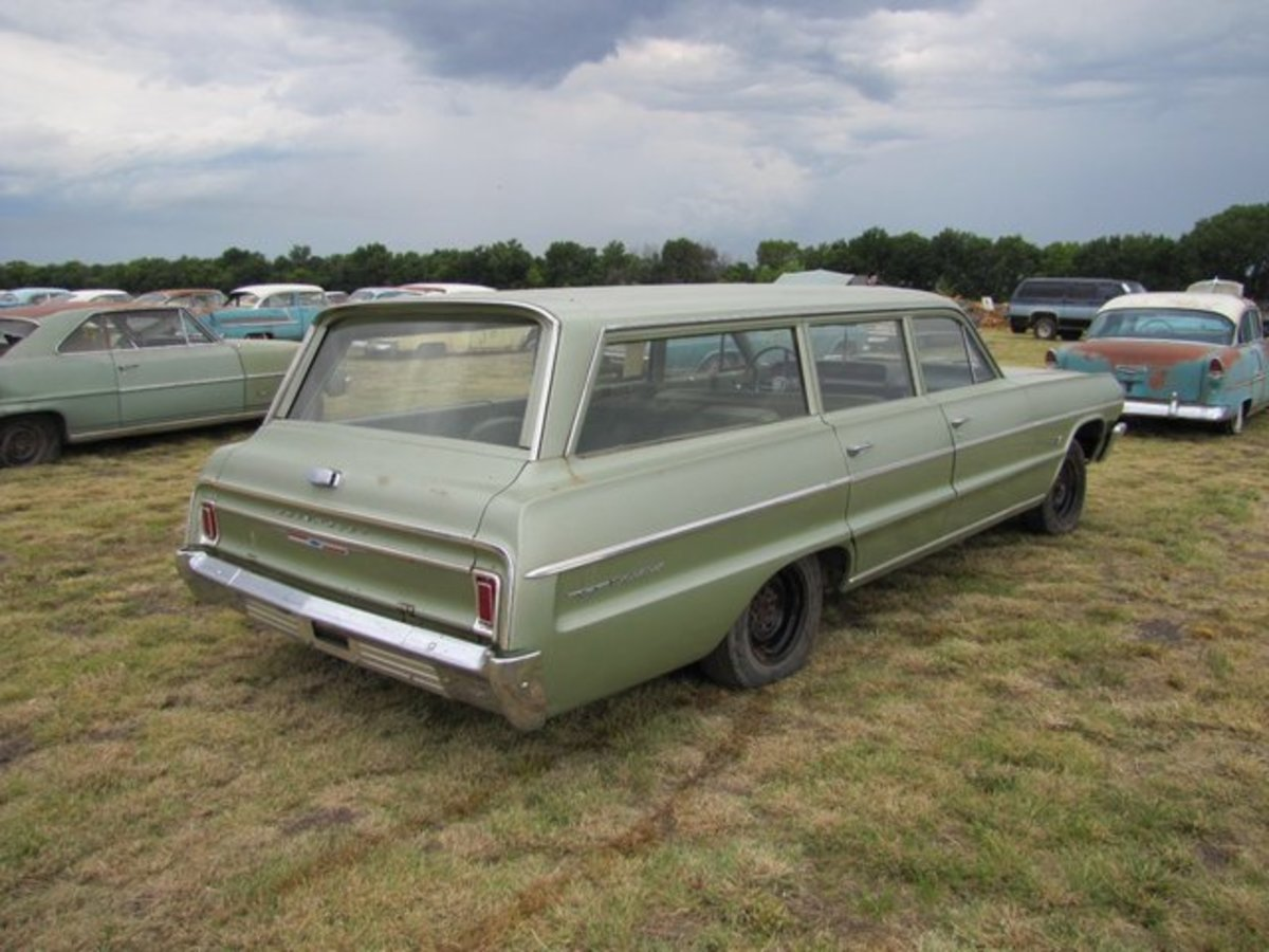This 1964 Chevrolet station wagon has 326 miles and retains its window sticker.