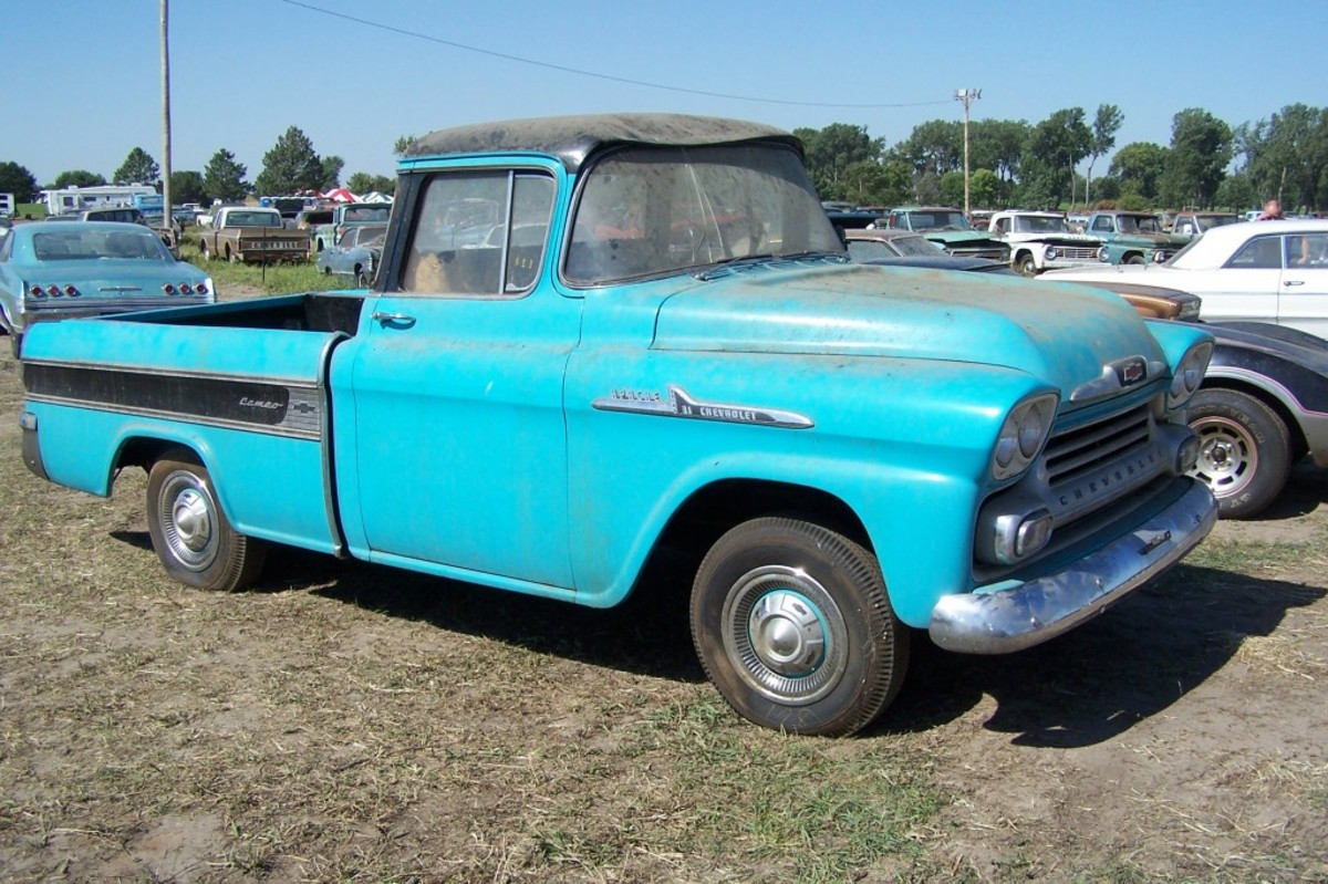 The 1.3-mile 1958 Chevrolet Cameo Carrier pickup from Ray Lambrecht's collection. The dent in the roof resulted from the collapse of a building roof decades ago.