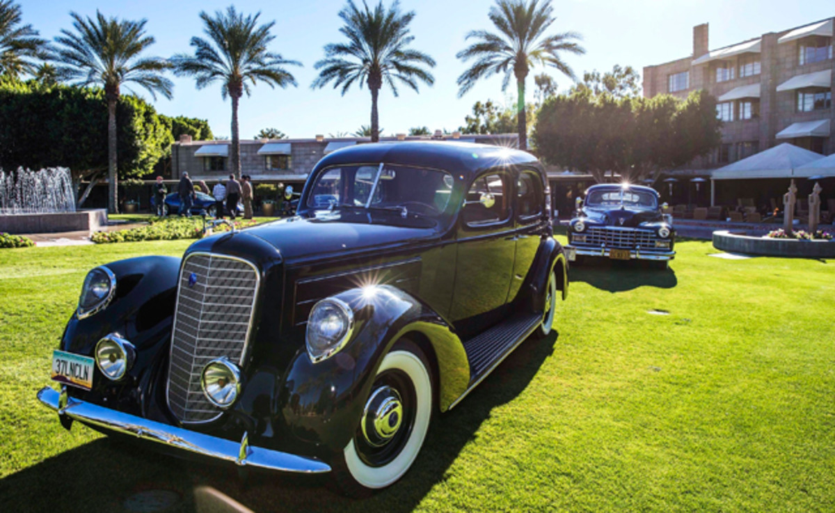 """1937 Lincoln followed by 1947 Cadillac at the Biltmore during recent """"dry run"""" site testing. (Michael Tobian photo)"""