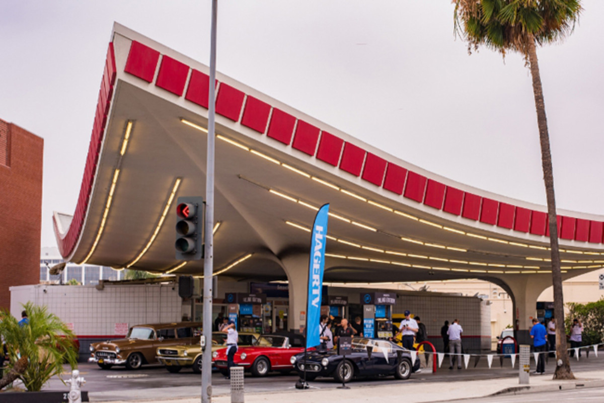 Hagerty vintage gas station event celebrating National Collector Car Appreciation Day at the iconic 76 Gas Station in Beverly Hills, CA. (PRNewsFoto/Hagerty)