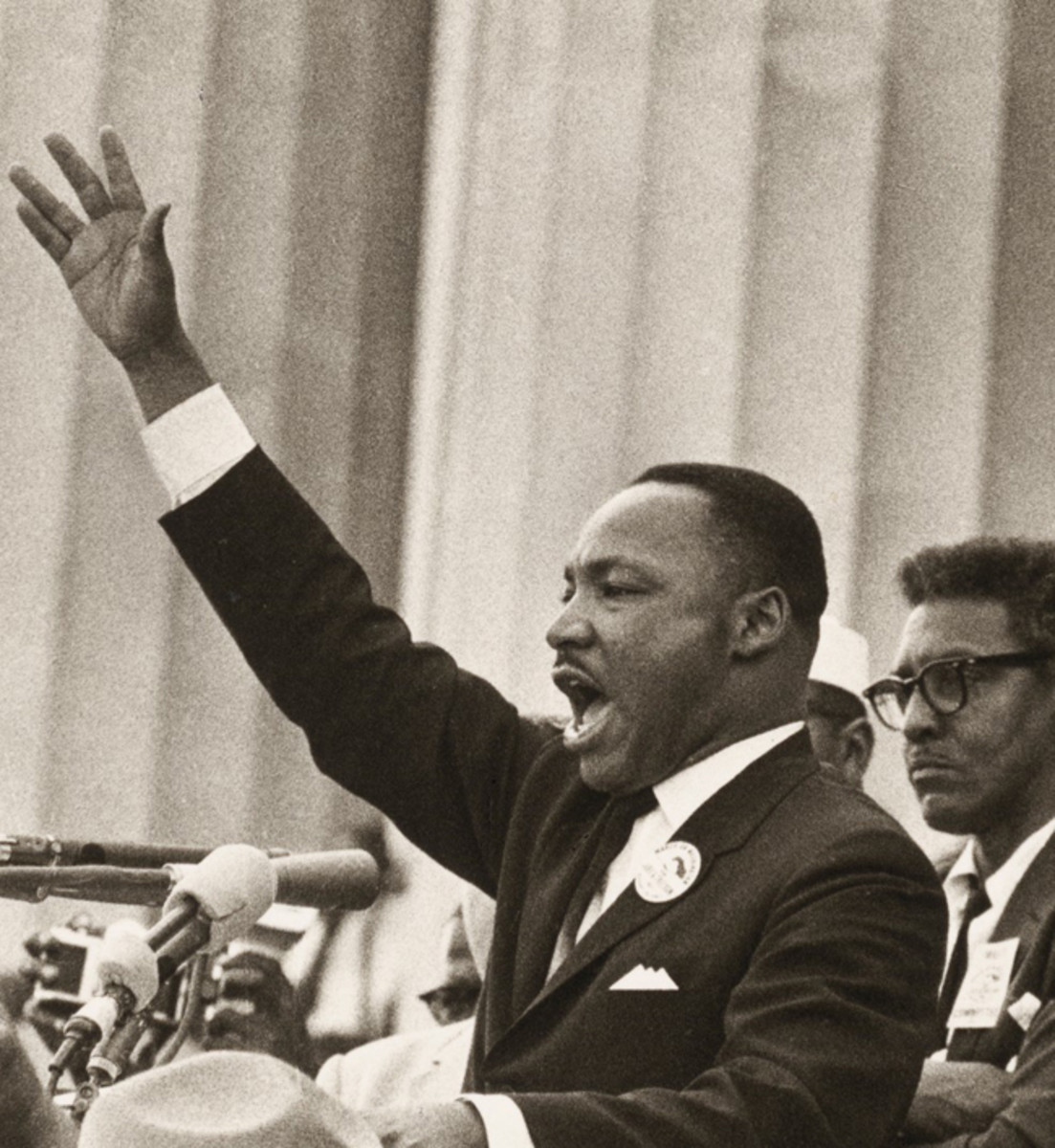 """The Reverend Martin Luther King is seen here giving his famous """"I have a Dream"""" Speech at the Lincoln Memorial, Washington DC in 1963. King became the most active and visible leader of the Civil Rights movement until his assassination in April 1968. Local author, Tony Ettwein, will take a close look at 1968 and '69, two of the most tumultuous years in history, during his January 13 presentation. Photo: Smithsonian Institution / B. Adelman"""