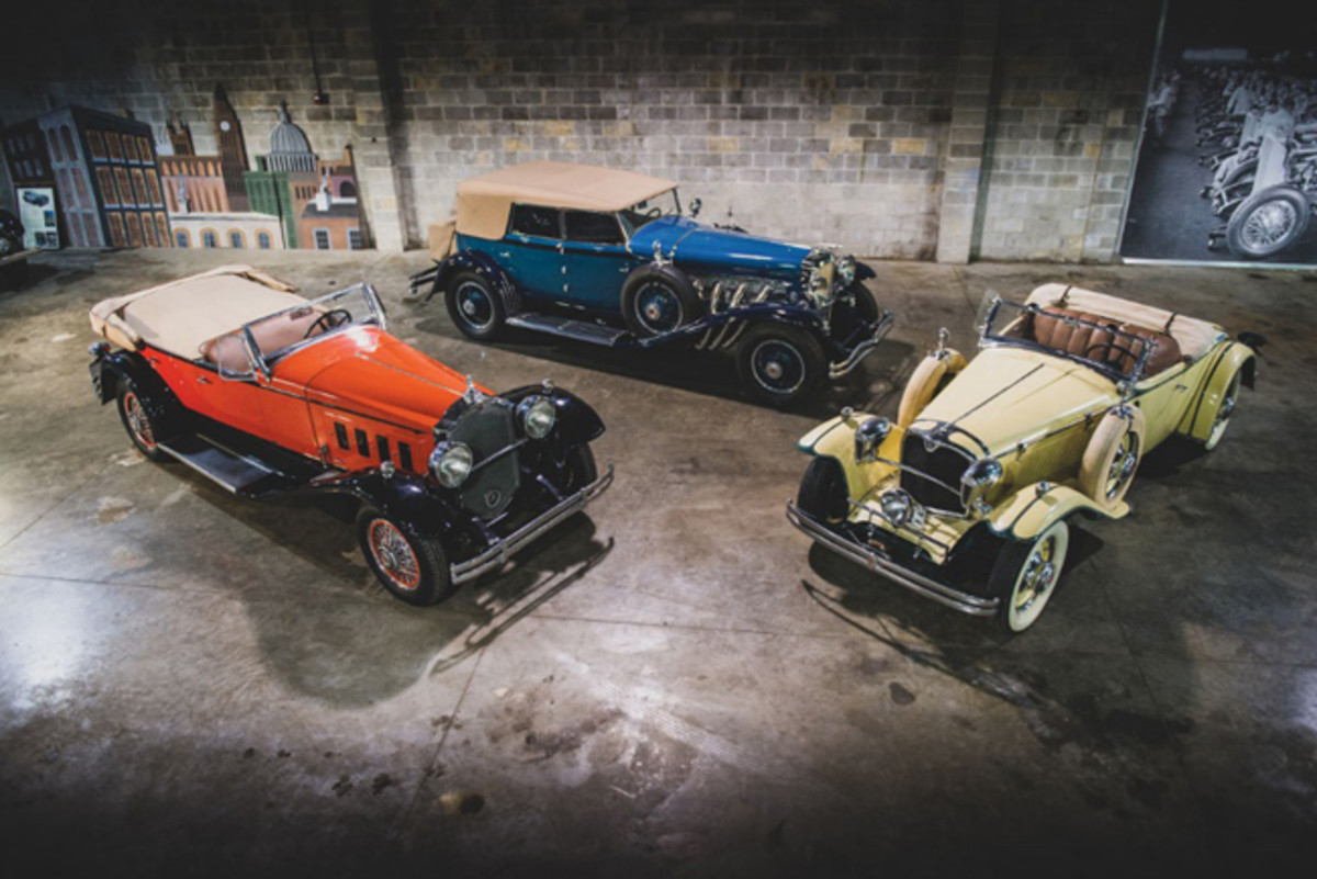 The 1930 Packard 734 Speedster Eight Phaeton, 1930 Duesenberg Model J Murphy Convertible Sedan, and 1930 Ruxton Model C Baker-Raulang Roadster which highlight The Guyton Collection. Photo - Darin Schnabel © 2019 Courtesy of RM Sotheby's