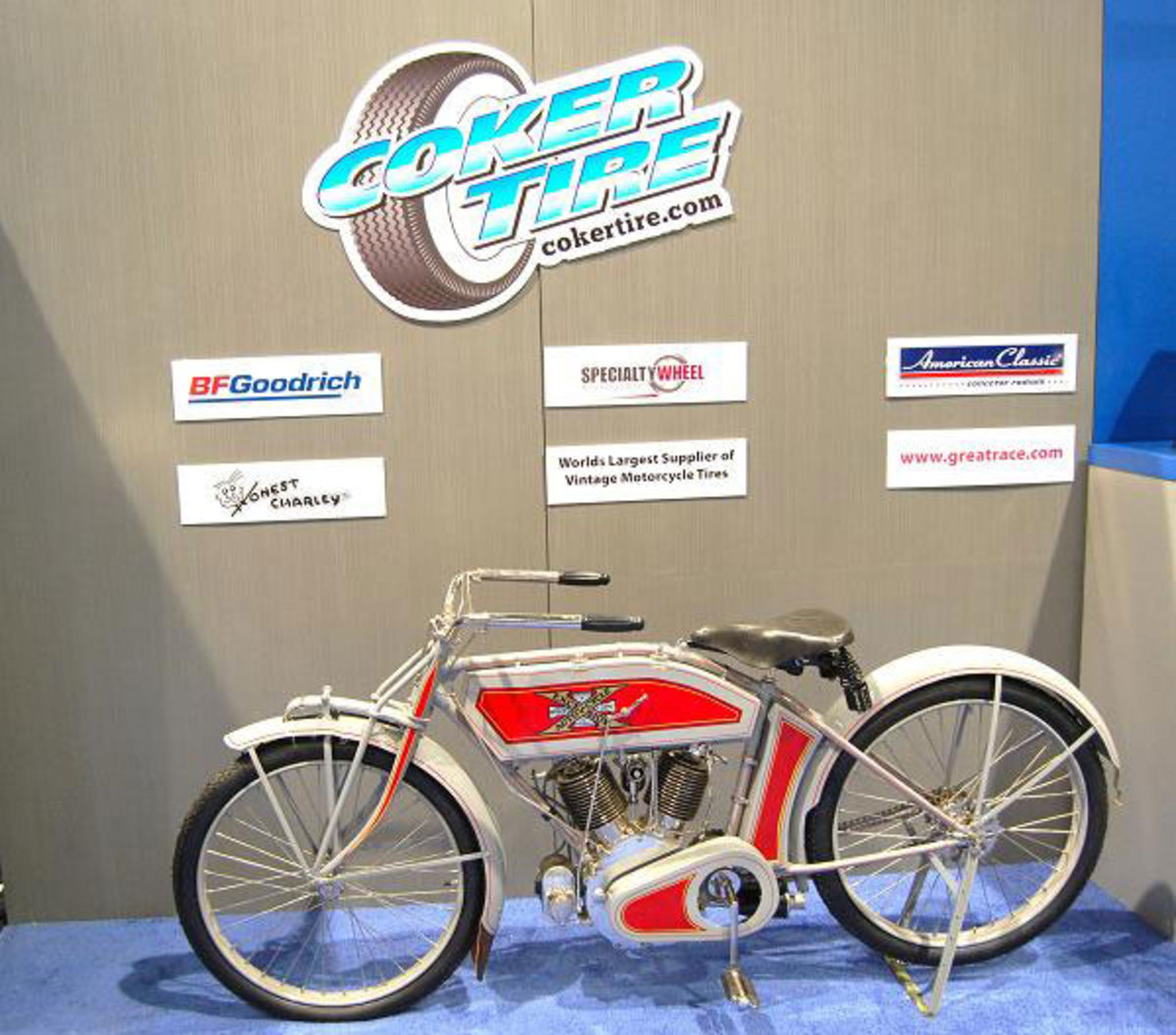 Coker is also a fancier of early bikes like this restored Henderson and makes tires for them, too.