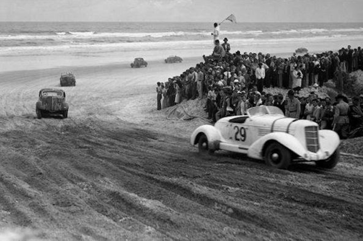 A rare photo of Jack Rutherfords's Auburn racing in the AAA race at Daytona