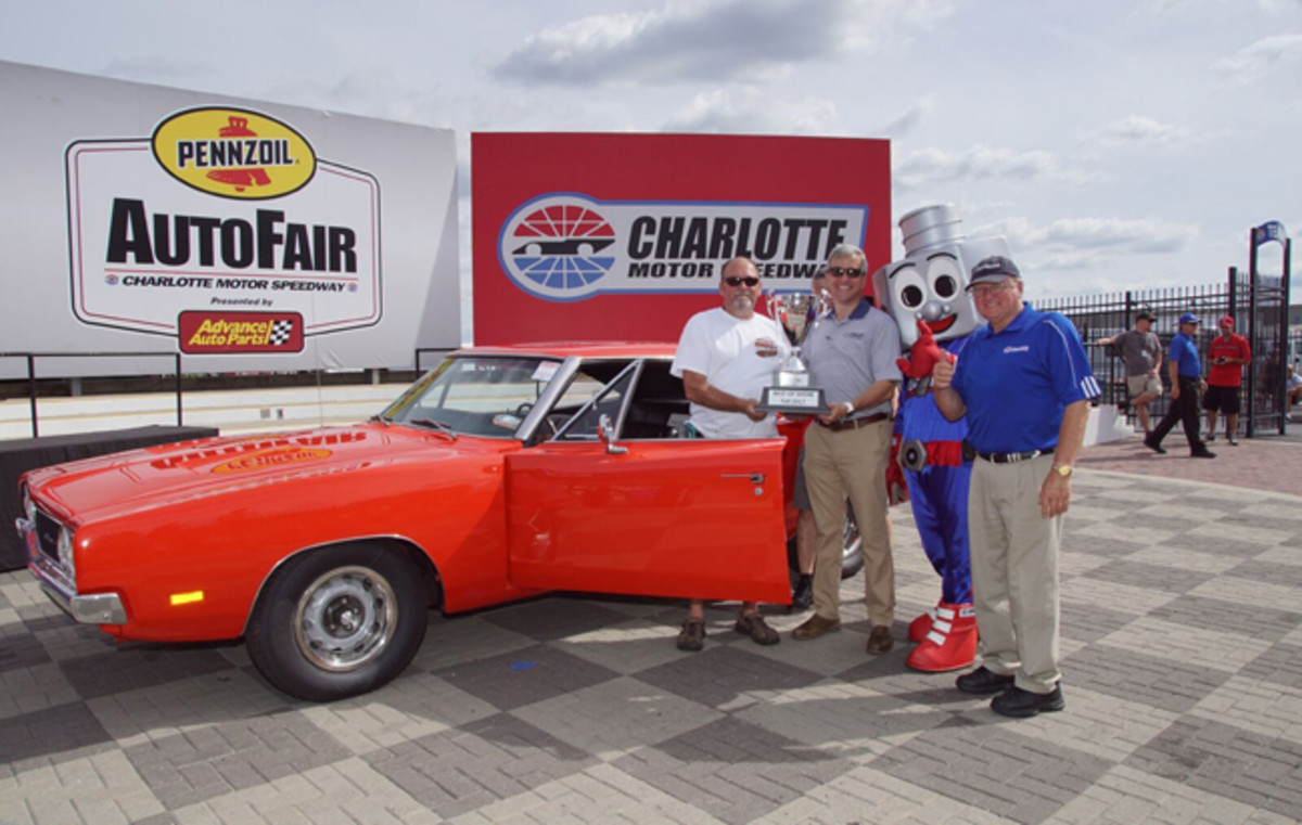 Denver, North Carolina, native Robert Isenberg and his 1969 Dodge Charger 500 won Best of Show honors at Sunday's Pennzoil AutoFair presented by Advance Auto Parts at Charlotte Motor Speedway. (CMS/John Davison photo)