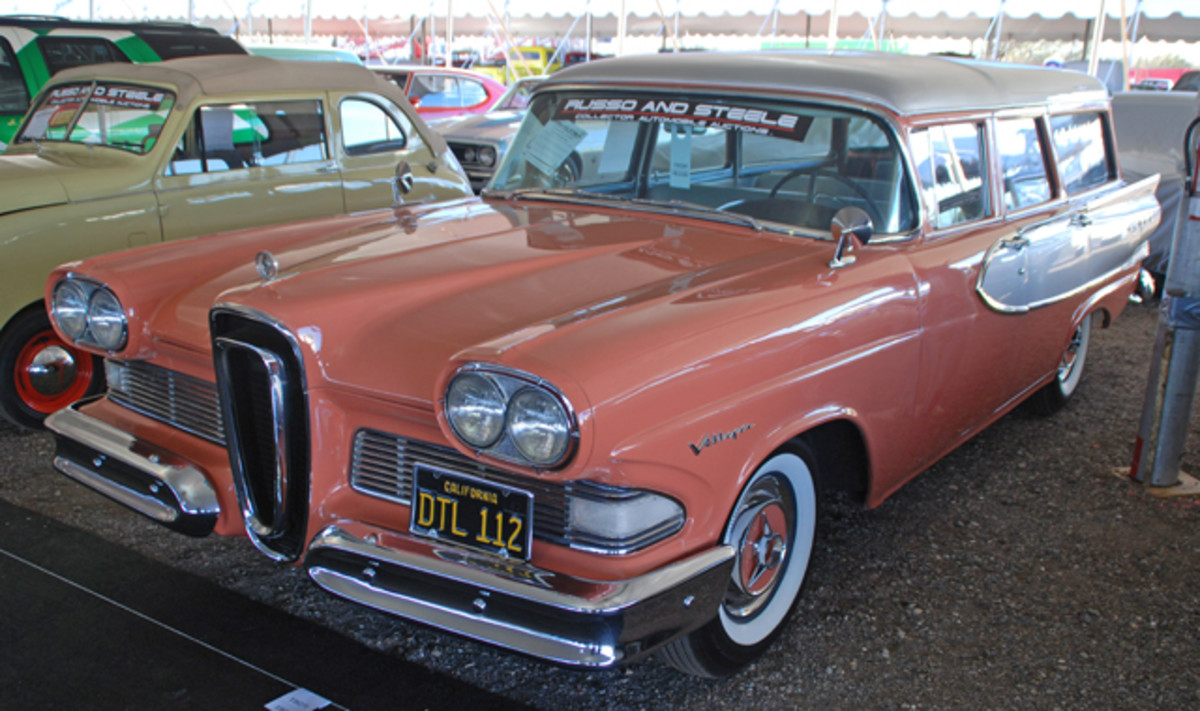 The only Edsel we have found in the Phoenix/Scottsdale mix so far has been this 1958 Villager station wagon, finished in Sunset Coral and Silver to be offered at Russo & Steele.
