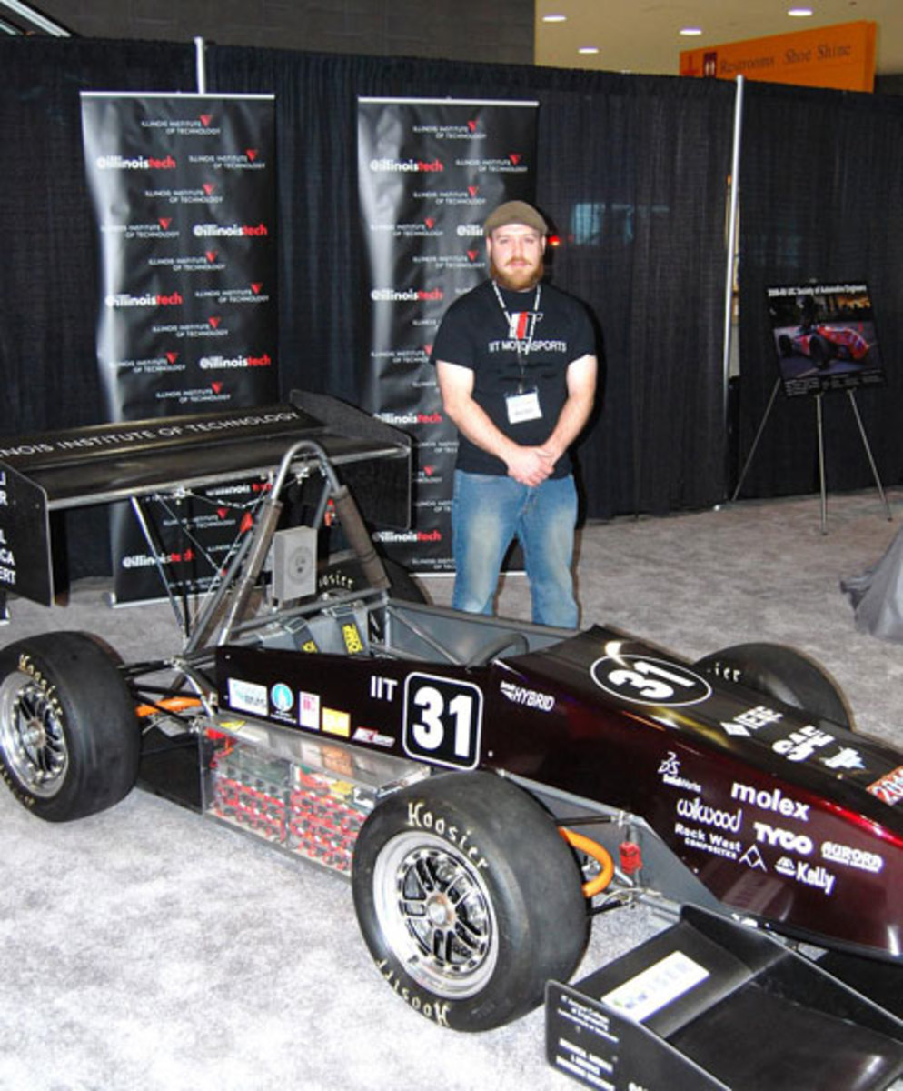 Alex Carlson put in long days last weekend hauling the electric racecar to the auto show and manning the booth there to tell the public about the program.