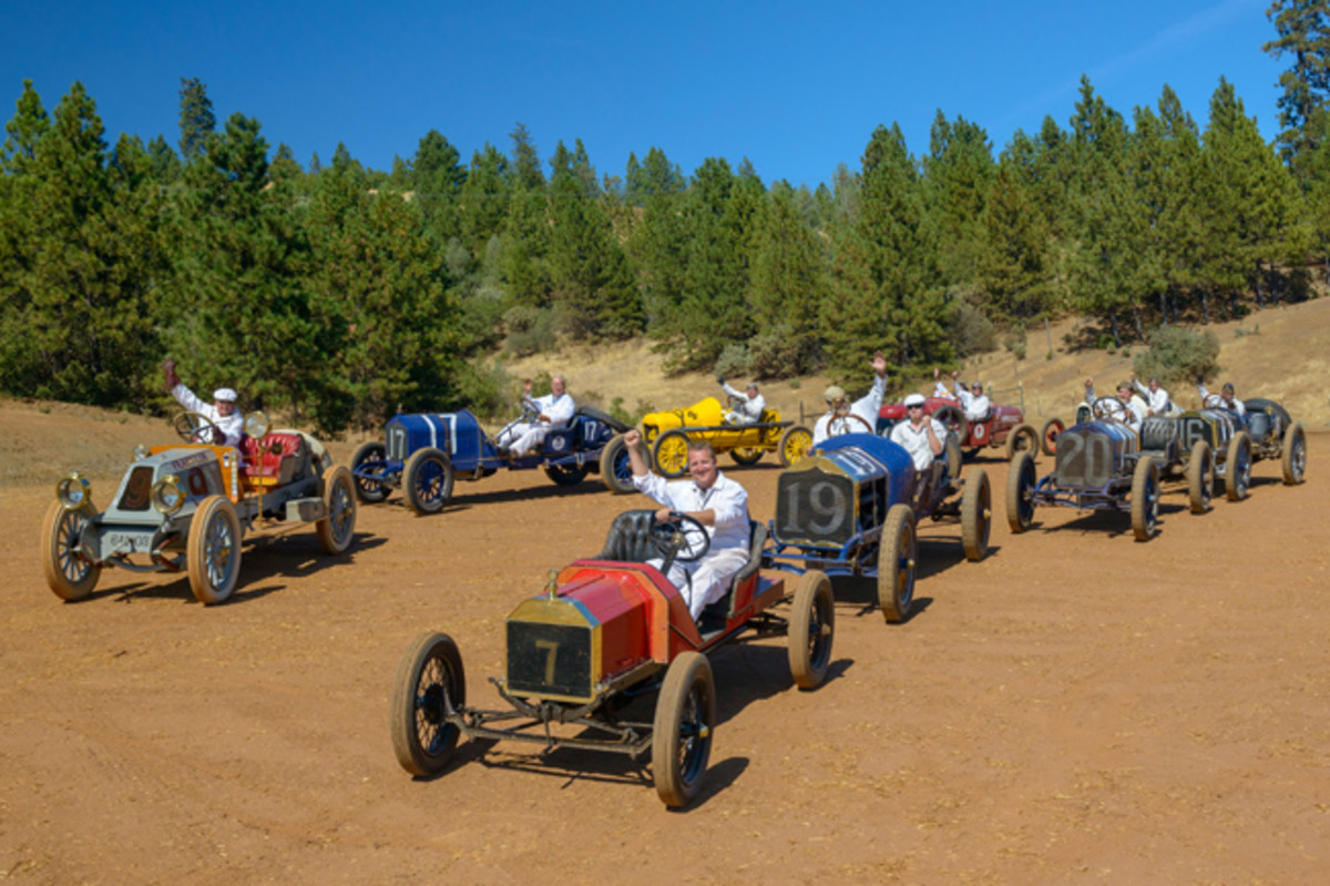 """Eight of the century-old race cars in which Ironstone concours spectators could play """"mechanician."""" (Ron Kimball Studios image)"""