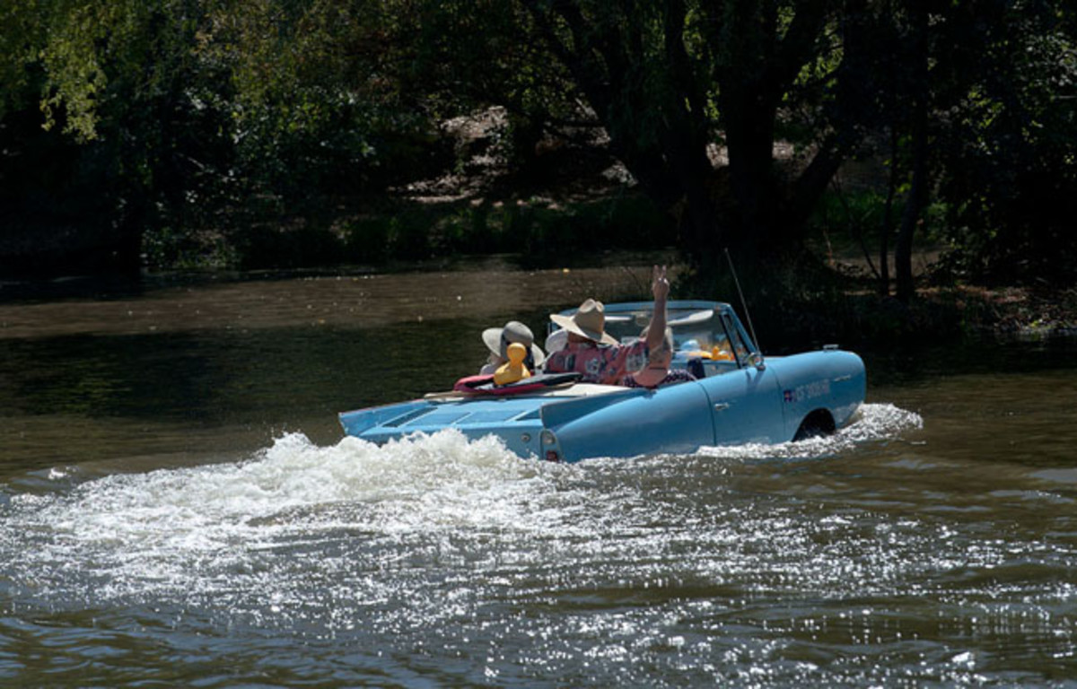 A fleet of Amphicars were on hand to provide rides to Ironstone concours spectators. (Carl Madson image)