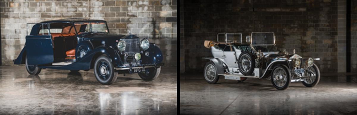 LEFT: 1938 Rolls-Royce Phantom III 'Parallel Door' Saloon, RIGHT: 1909 Rolls-Royce 40/50 HP Silver Ghost Roi des Belges. Photos - Darin Schnabel © 2019 Courtesy of RM Sotheby's