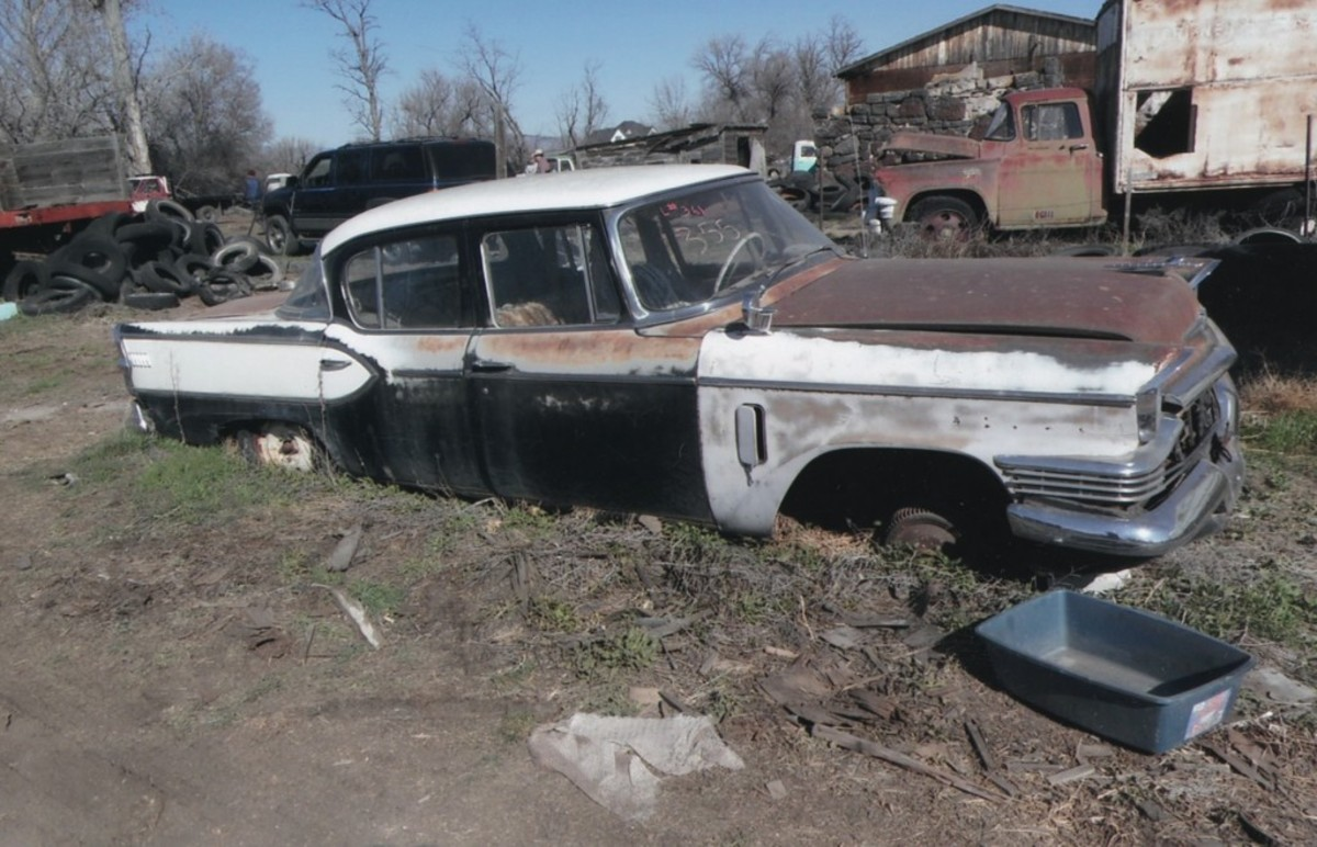 A 1957 Studebaker President sedan needed to be dug out from the earth before it went anywhere.